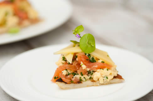 Orkney cheddar potato scone with smoked salmon and scrambled egg