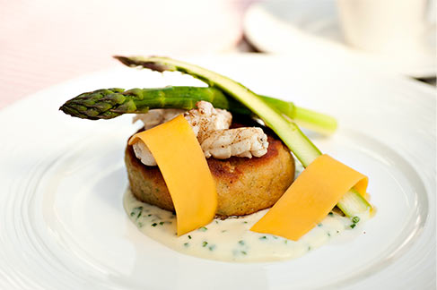 Fishcakes with Mornay Sauce and Asparagus